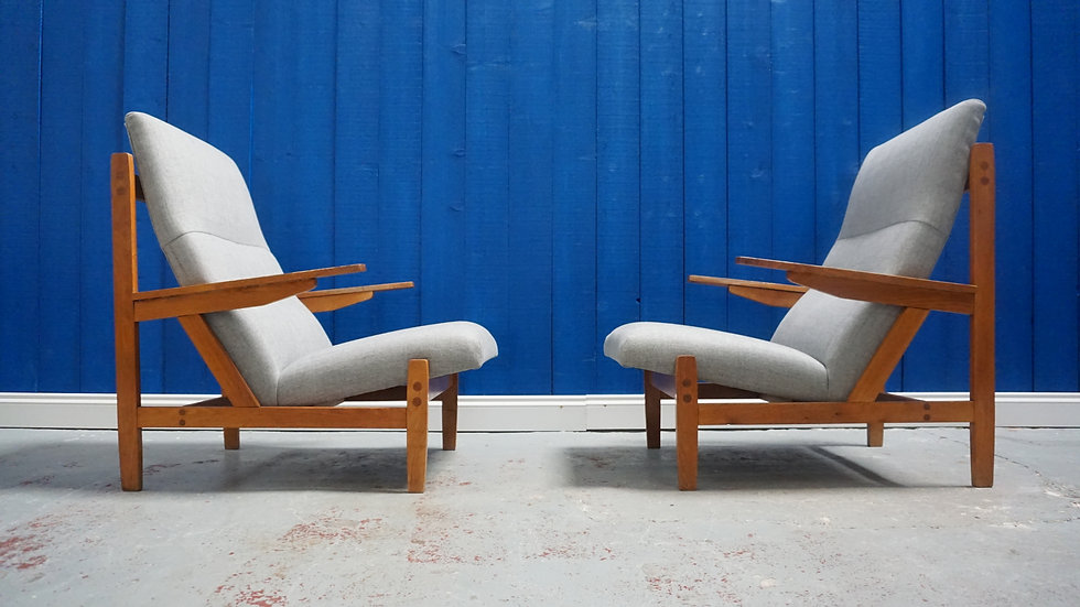 1960 Mid Century Modern Armchairs in Light Grey, 1 of 2