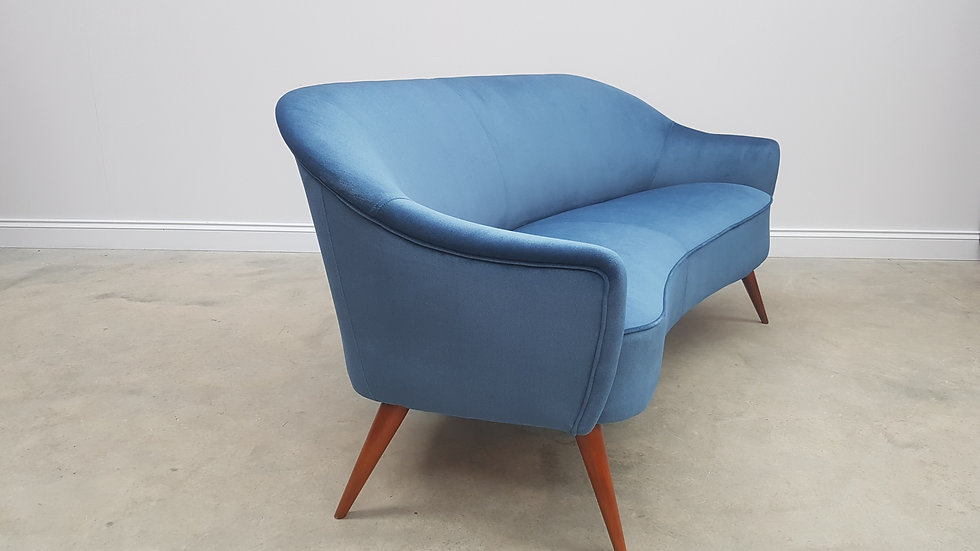 1950 French Two Seat Sofa Couch, Loveseat in Blue Velvet