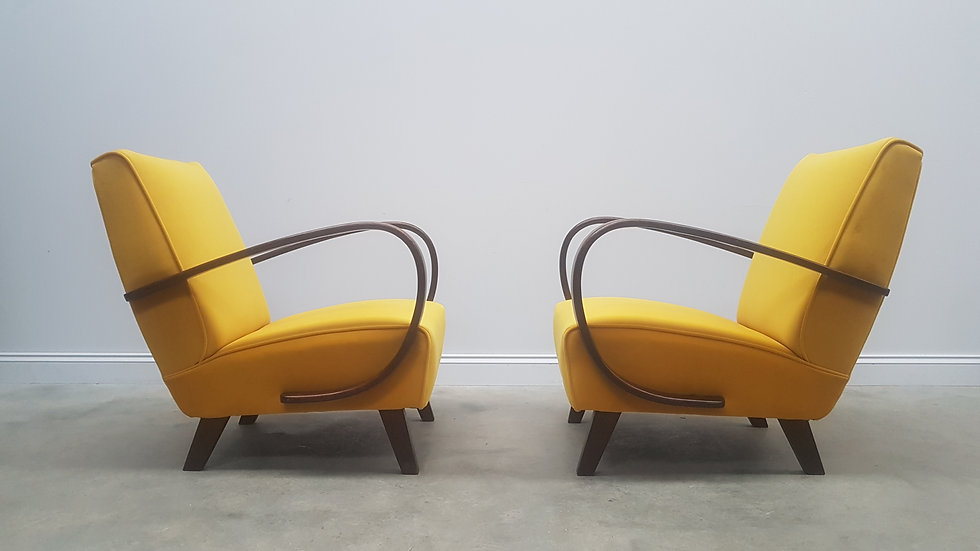 1930 Jindrich Halabala Bentwood Armchairs in Yellow Velvet, 1 of 2