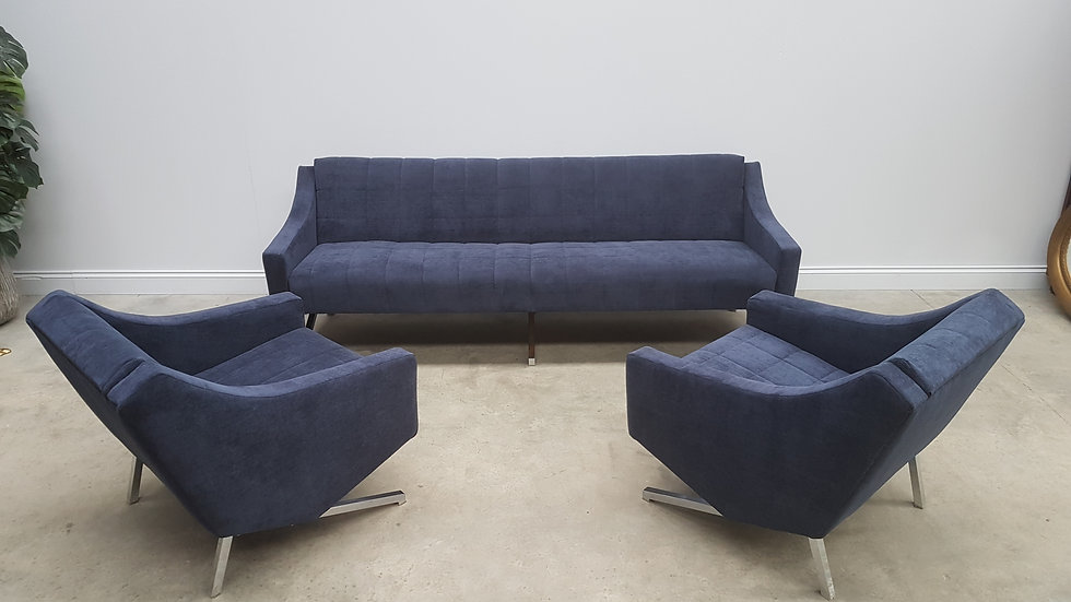 3 + 1 + 1 Set of Mid Century Sofa Bed and Armchairs in Blue Velvet, 1960