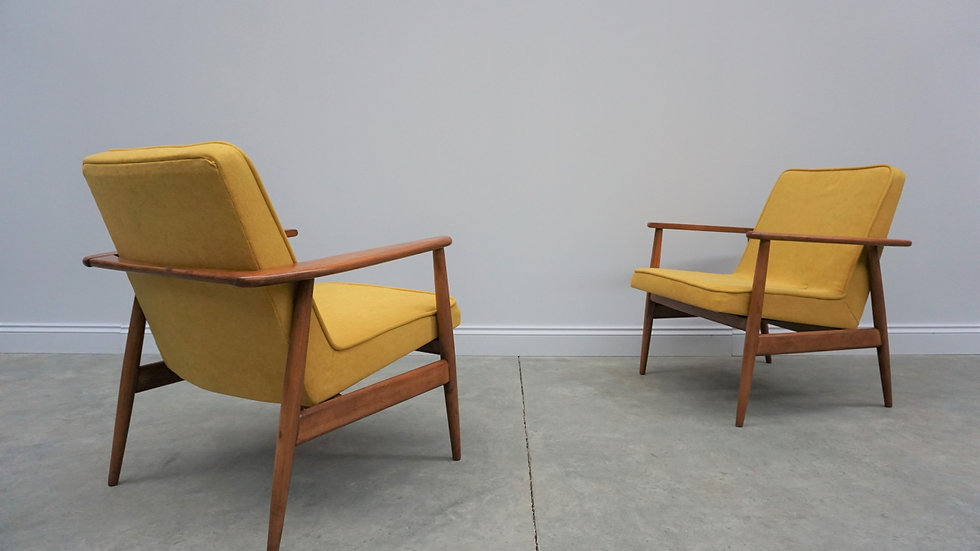 1960's Mid Century Easy Chair by M. Zielinski, in Yellow, Set of 2