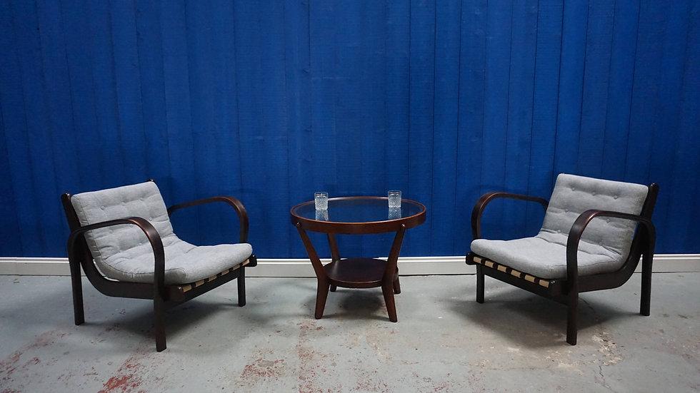 Lounge Chairs by K. Kozelka & A. Kropacek for Interier Praha, 1940s,