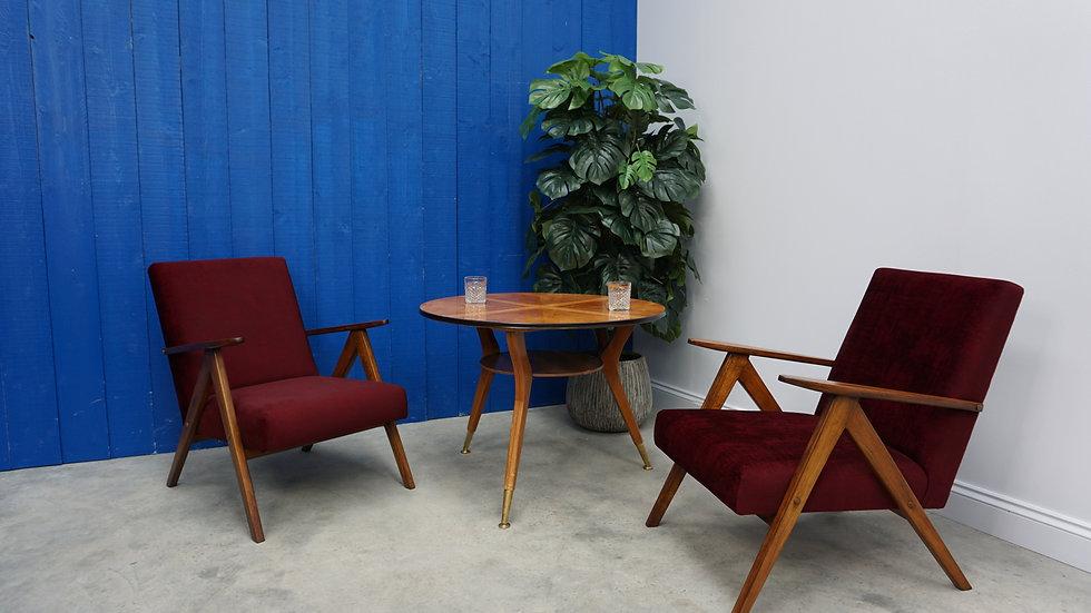 Model B 310 Var Mid Century Easy Chairs in Burgundy Velvet, 1960, Set of 2