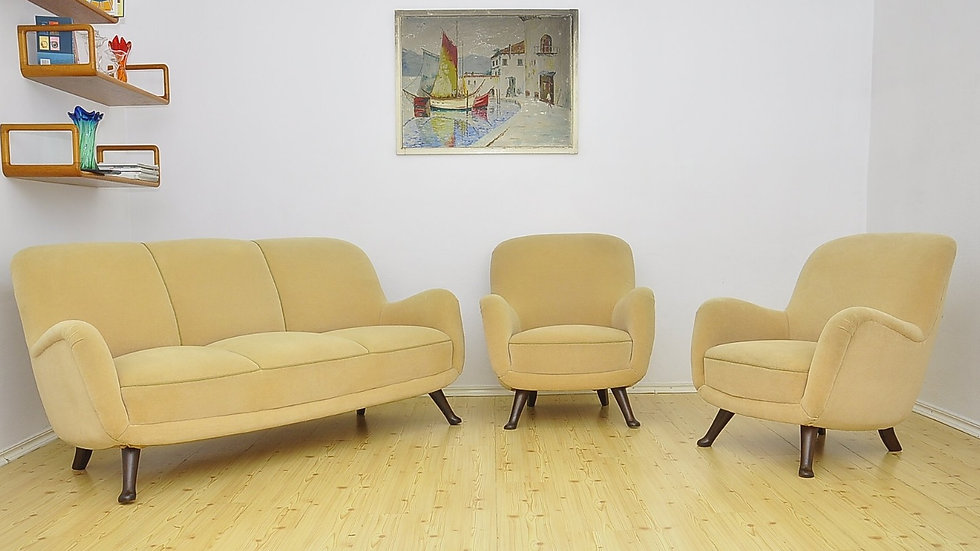 Vintage Living Room Set, Sofa + 2 Armchairs by Berga Mobler, 1940 Sweden