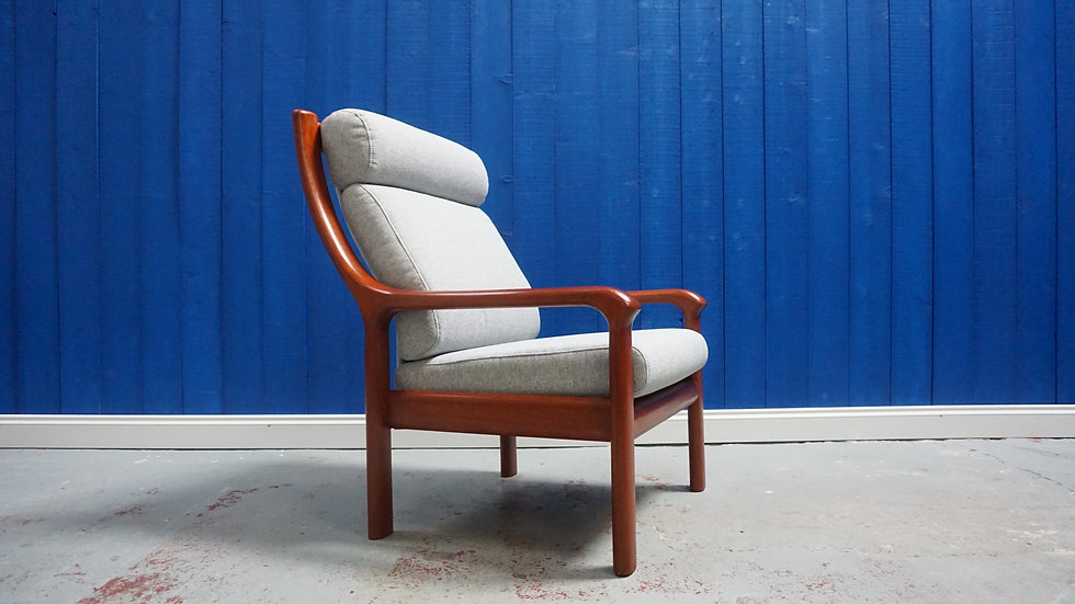 Danish Teak Mid Century High Back Armchair by EMC from 1970