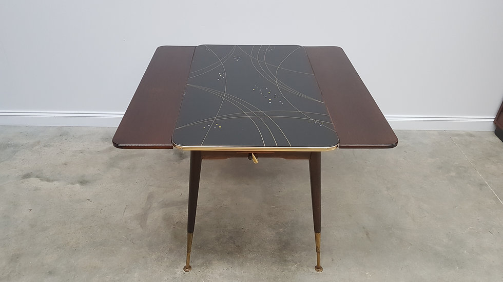 Vintage Adjustable Dining, Coffee Table with Glass Top, Vienna 1950