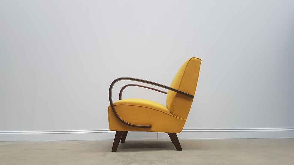 1930 Jindrich Halabala Bentwood Armchair in Yellow, Thonet