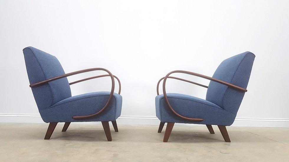 Pair of 1930 Jindrich Halabala Bentwood Armchairs in Navy Blue Tweed, Thonet