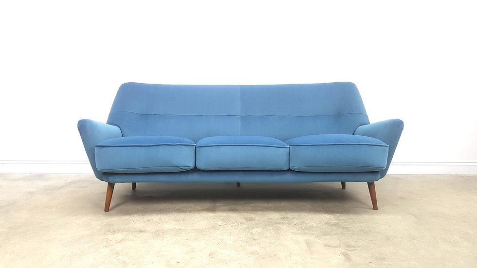 Mid Century Danish Sofa in Luxury Blue Velvet, 1950