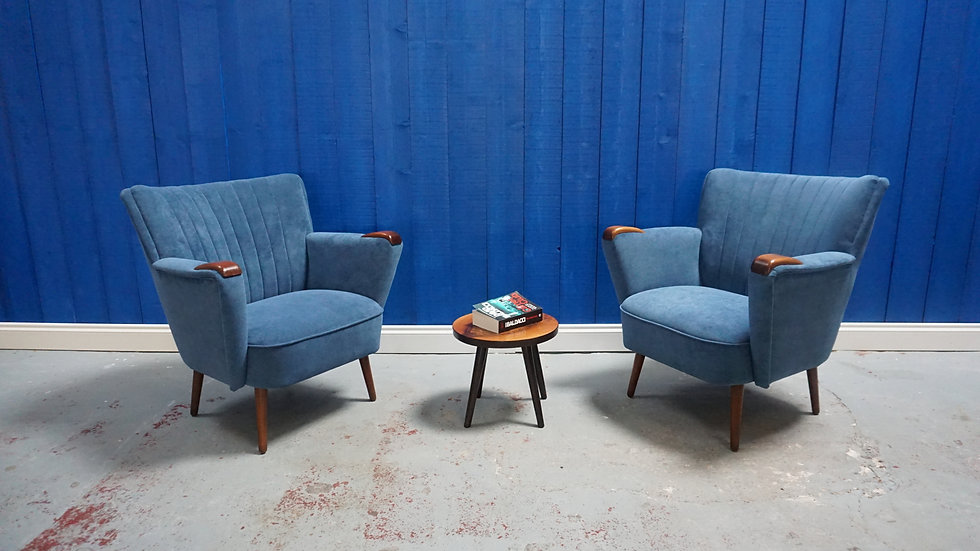 1950's Mid Century Shell Chairs in Mild Blue, 1 of 2