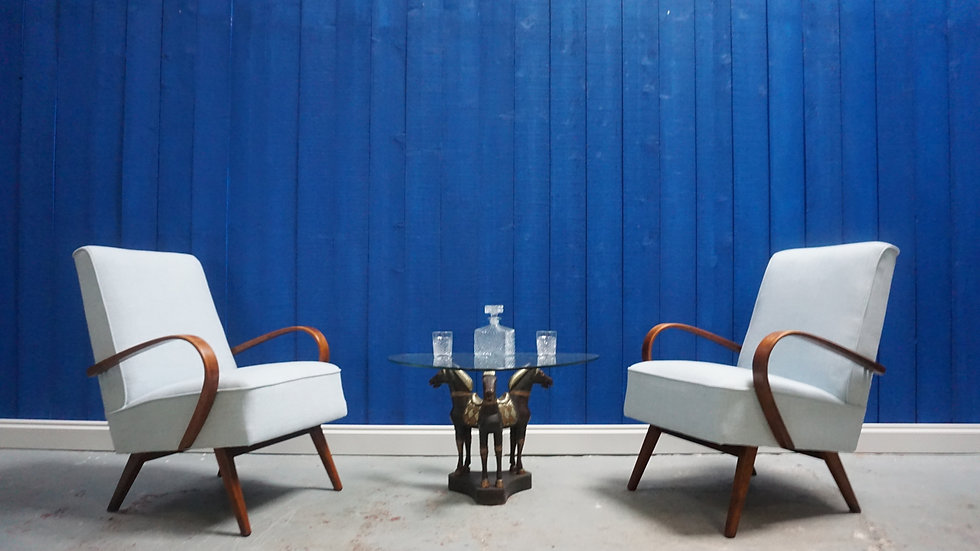 Jindrich Halabala Bentwood Armchairs in Light Blue, Thonet 1950, Set of 2