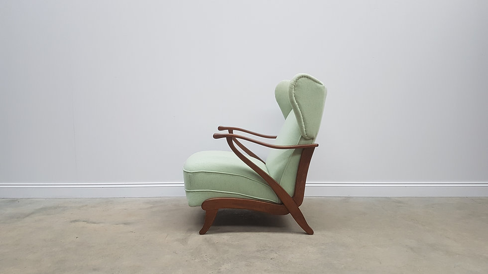1940 Art Deco Recliner Armchair in Light Green, Mint 100% Wool Wingback
