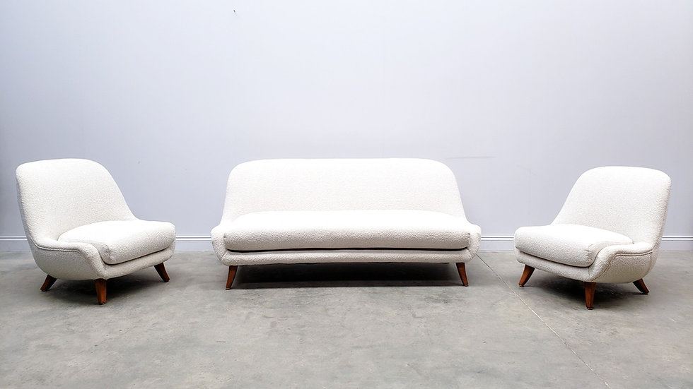 1940 Swedish Living Room Set by Berga Mobler in Boucle