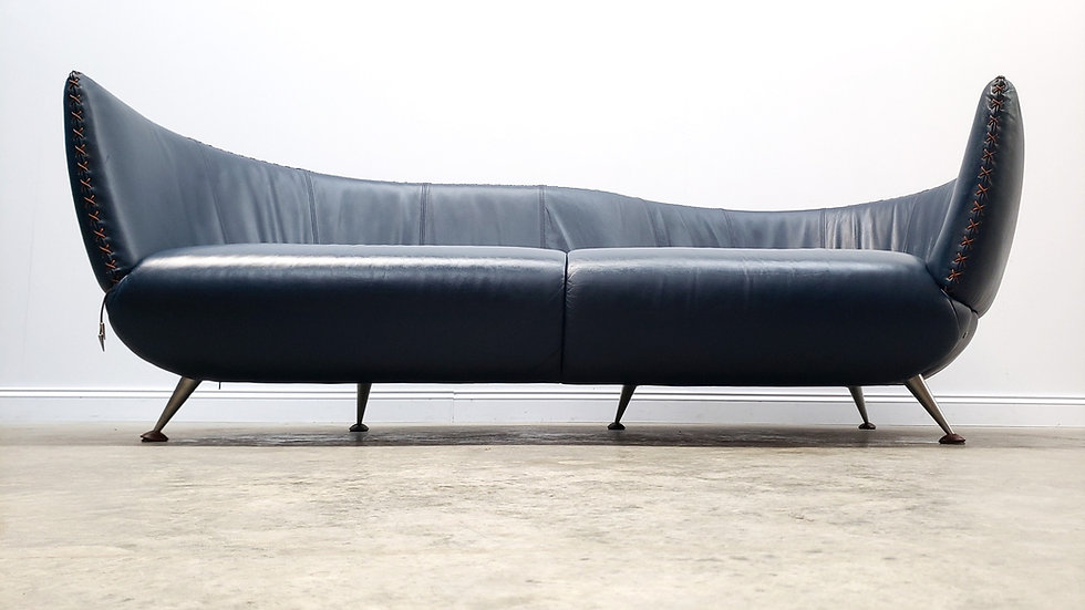 De Sede Model DS - 102, Curved Navy Blue Leather Sofa Couch