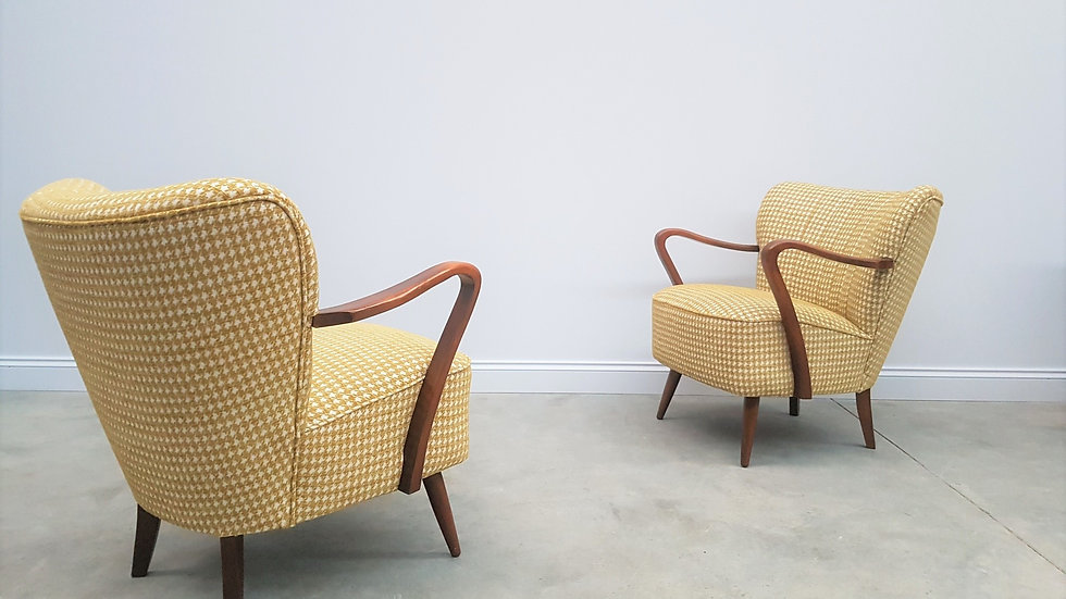 Mid Century Cocktail, Club Chairs, in Yellow, 1960, Set of 2