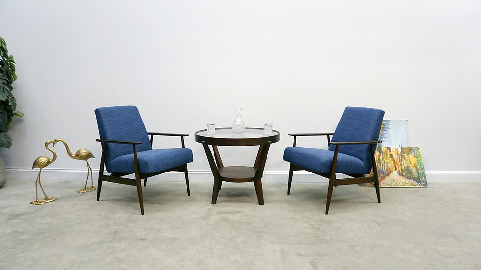 1960 Henryk Lis Mid Century Armchairs in Navy Blue, 1 of 2
