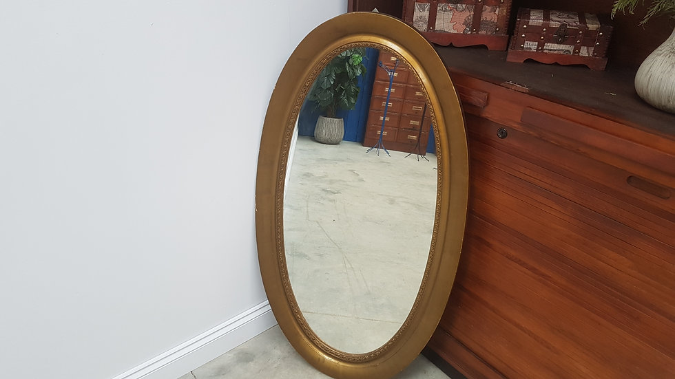 Antique Large Oval Rustic Mirror, France, 1930