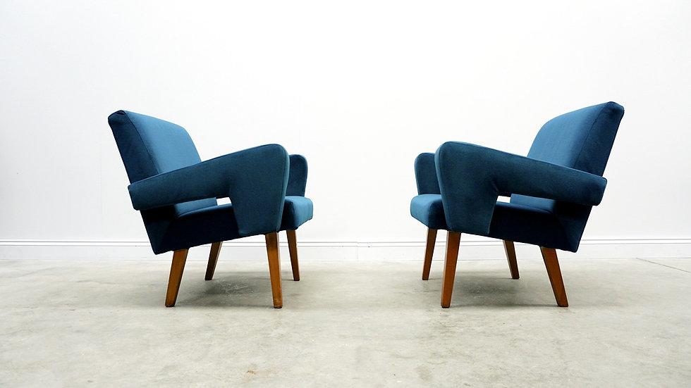 1960 Jitona Sobeslav Easy Chairs in Turquoise Velvet