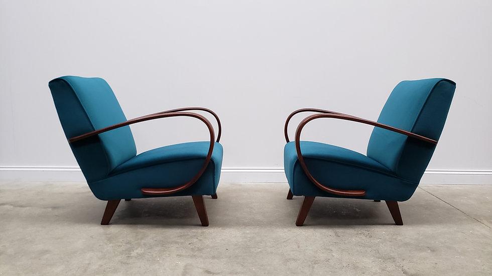 1930 Jindrich Halabala Bentwood Armchairs, Luxury Turquoise Velvet