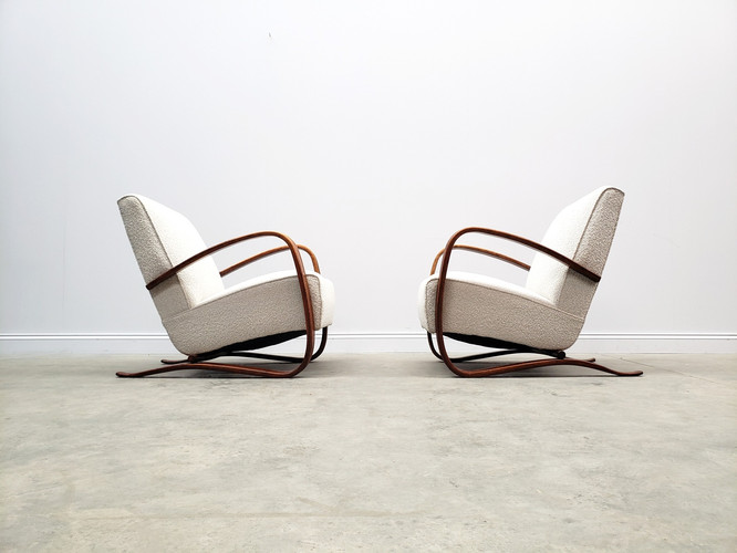 ONE Left Only - Jindrich Halabala H-269 Armchairs in Boucle, Thonet, 1930
