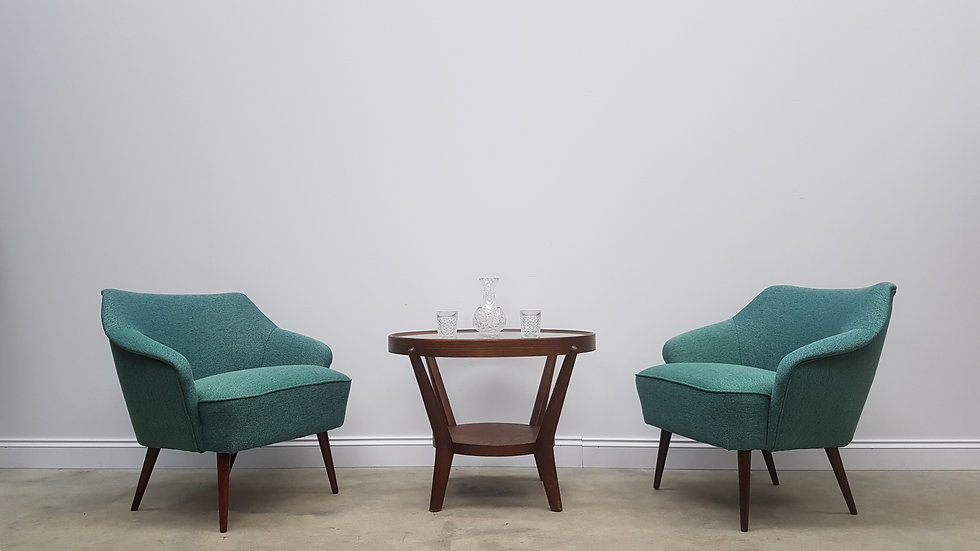 Pair of Mid Century Danish Cocktail Club Chairs, in Green Tweed, 1960
