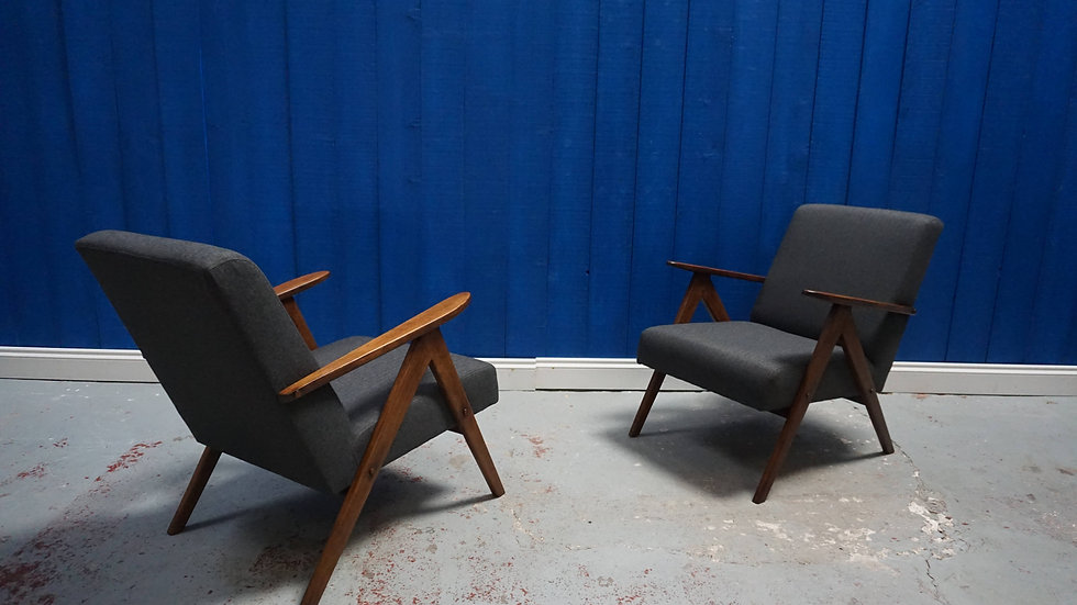 Mid Century Modern Armchairs from 1960's in Charcoal Grey Tweed , 1 of 2