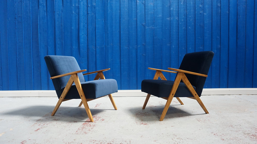 Mid Century Lounge Chairs in Velvet, Vintage Design