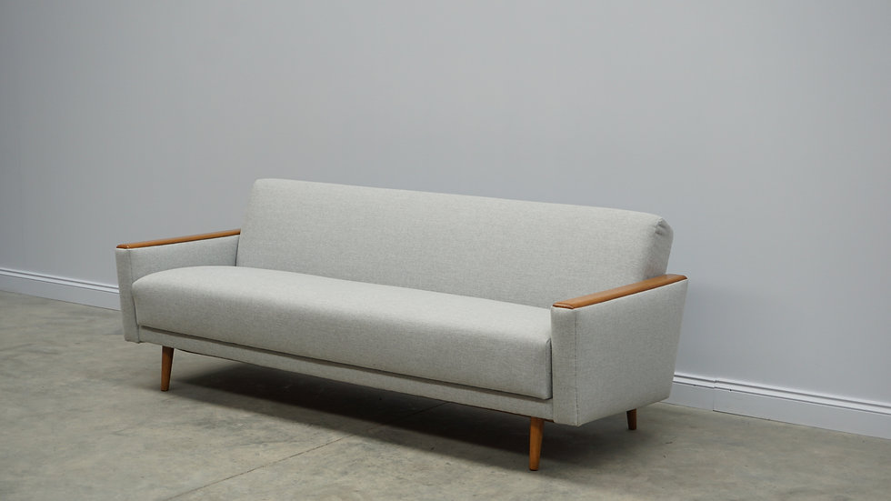 Mid Century 3 Seat Danish Sofa Bed in Light Grey Tweed, 1960's