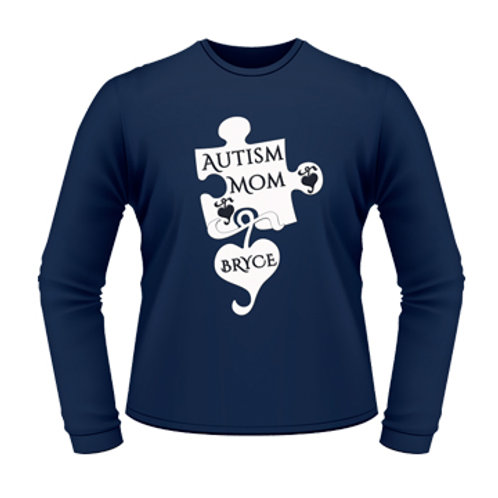 Ladies Personalized Autism Mom LS T-Shirt