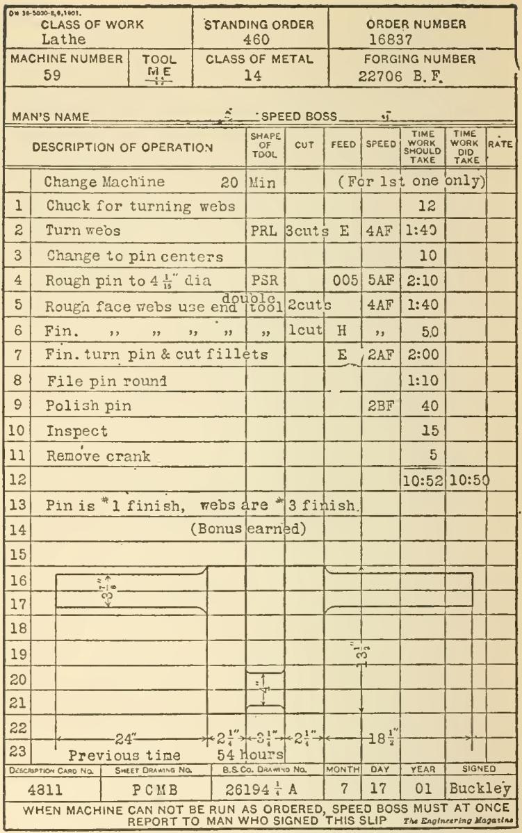 Instruction Card for Turning a Crank-Shaft, Bethlehem Steel Co., July 17 1901