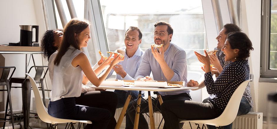 Friendly happy diverse team workers talk