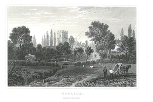 Raglan Castle, Monmouthshire, Old Engraving