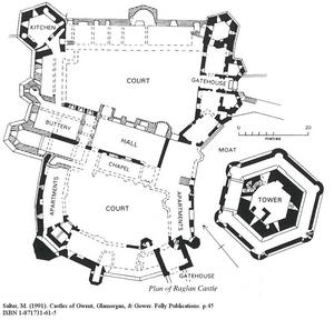 Mike Salter Raglan Castle Plan
