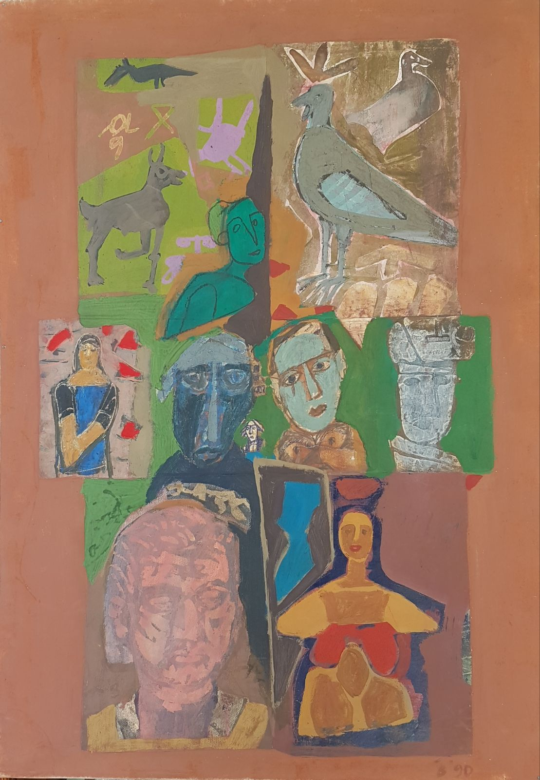 Colony Art Gallery  - Ilie Boca -Palimpsest 6 - mixed media on cardboard - 1990