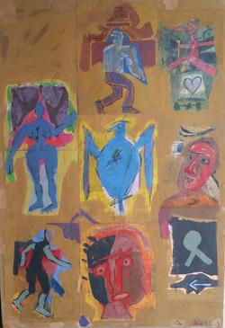 Colony Art Gallery  - Ilie Boca -Palimpsest 4 - mixed media on cardboard - 2012