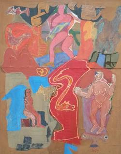 Colony Art Gallery  - Ilie Boca -Palimpsest 8 - mixed media on cardboard - 2009