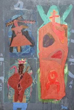 Colony Art Gallery  - Ilie Boca -Palimpsest 7 - mixed media on cardboard - 2006