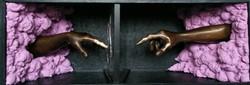Geneza, 39x110x39 cm, 2017, bronz, lemn, spuma poliuretanica, oglinda