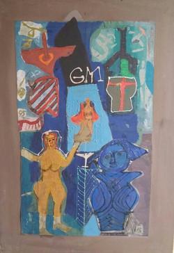 Colony Art Gallery  - Ilie Boca -Palimpsest 2 - mixed media on cardboard -