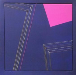 Seven, 2016, guitar strings,     acrylic on canvas, 50x50cm w