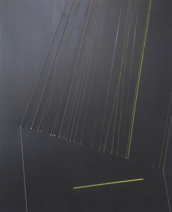 Causality, 2016, 110x90cm, guitar  strings, acrylic on canvas