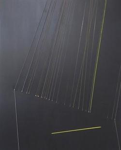 Causality, 2016, 110x90cm, guitar  strings, acrylic on canvas