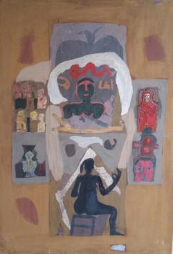 Colony Art Gallery  - Ilie Boca -Palimpsest 5 - mixed media on cardboard - 2014