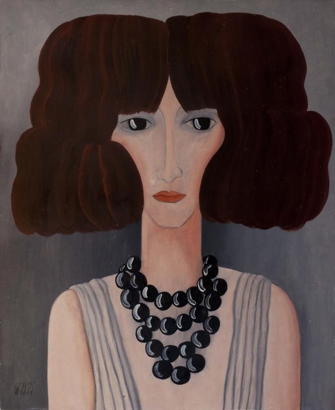 Dan Bota - Black pearls, oil on board,  65x54 cm, 1975