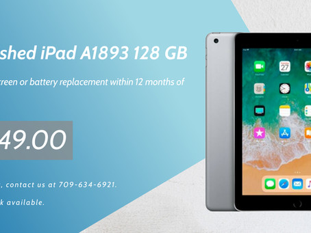 Refurbished iPad A1893, 128GB.