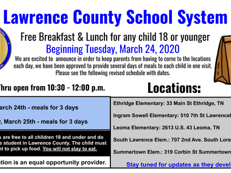 UPDATED SCHEDULE FOR FREE BREAKFAST, LUNCH FOR CHILDREN UNDER 18