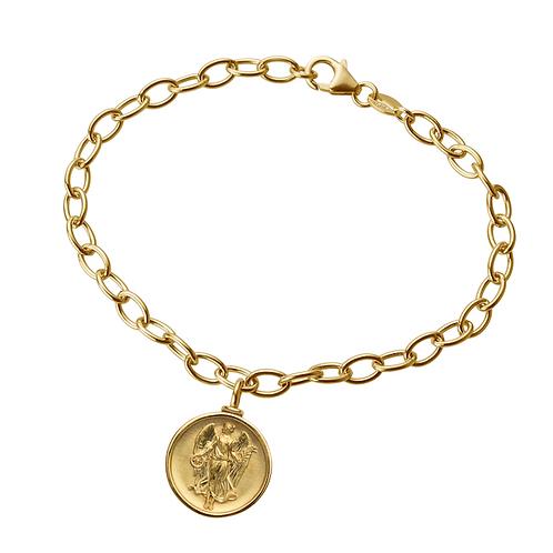"""Gliederarmband in 935er Silber/ Gelbgold mit """"Schutzengel"""" Amulett Anhänger"""