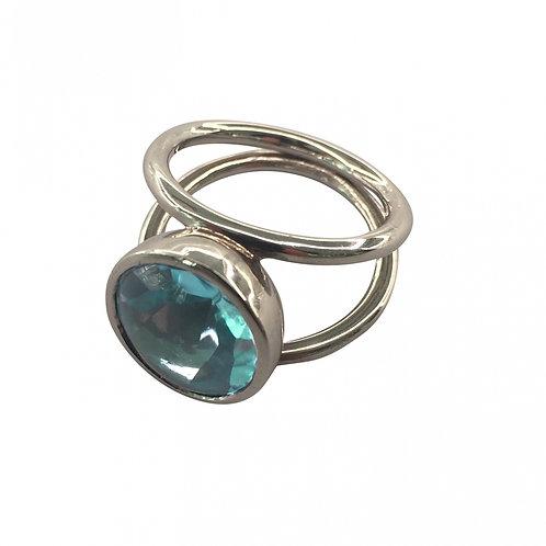 Ring in 760/- Weißgold/ rhodiniert mit Blautopas, RW 52