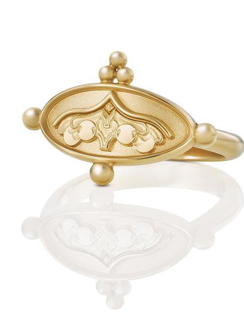 """Ring """"Engel unter dem Kielbogen"""" in 750er Gelbgold"""