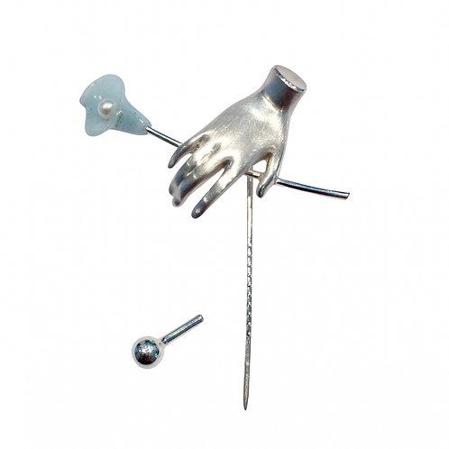 "Nadel in 935/- Silber mit ""Calla"" Blüte aus Amazonit"